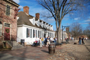 two white houses on the street of historic Colonial Williamsburg