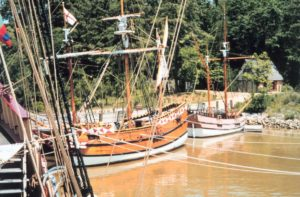 three replica wooden ships at Jamestown settlement