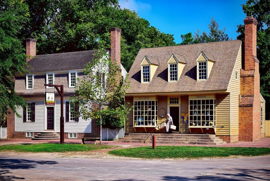 two brick buildings of Colonial Williamsburg