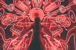 A woman standing in front of many red neon lights in the shape of musical instruments
