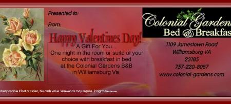 Valentine Gift Certificates For Williamsburg Va B B